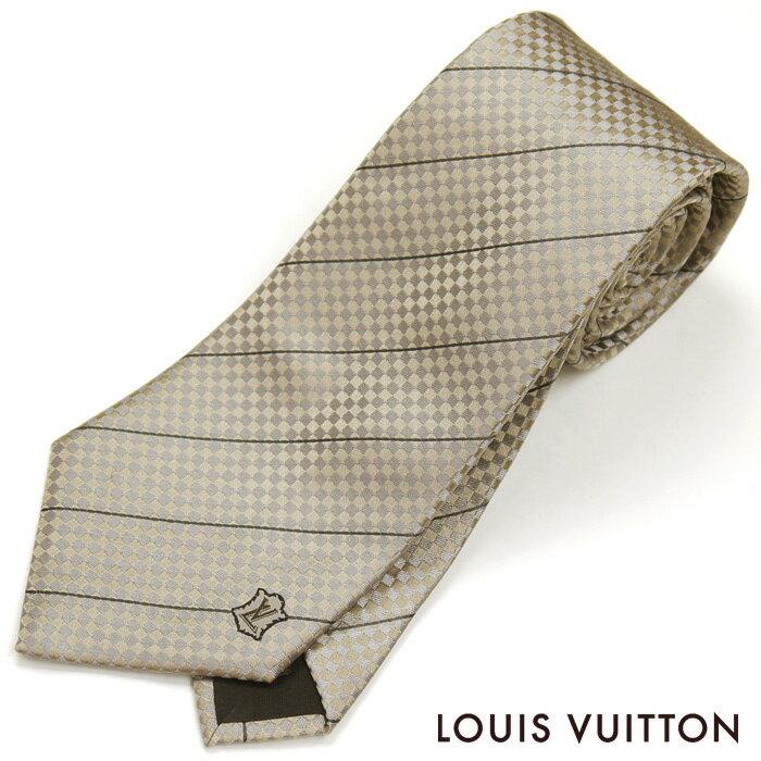 ルイヴィトン LOUIS VUITTON ルイ ヴィトン LV ネクタイ クラヴァット エク レジメンタル ダミエ M74395 ベージュ シルク100%【ネクタイを税込3万円以上購入で送料無料!】
