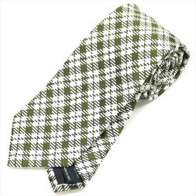 トムフォード TOM FORD ネクタイ シルク100% チェック グリーン ホワイト【ネクタイを税込3万円以上購入で送料無料!】