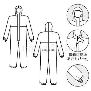 防護服/保護服タイベックソフトウェアIII型(タイベック防護服3型TV3)【防塵服/放射能/デュポン/化学防護服】