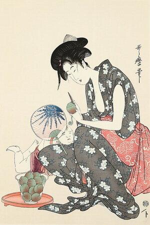 熟練職人の手作り希少浮世絵桃をむく母子喜多川歌麿復刻版浮世絵日本のお土産に最適海外で大人気インテリア