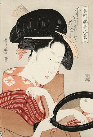 熟練職人の手作り希少浮世絵名所腰掛八景鏡喜多川歌麿復刻版浮世絵日本のお土産に最適海外で大人気インテリア