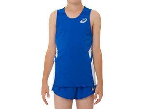 【asics】アシックス 2094A001-401 JR.ランニングシャツ [アシックスブルー×ホワイト] 【マラソン/ジョギング/陸上/スポーツウェア/ウエア/ノースリーブ/袖なし/ジュニア/子供用】 【RCP】[hz]