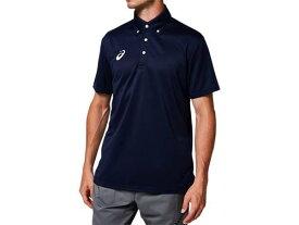 【asics】アシックス 2031A682-400 OPボタンダウンポロシャツ[ピーコート] [半袖シャツ/練習着/ワンポイント/ウォーキング/卓球/テニス/サッカー/メンズ/ユニセックス/男女兼用] 【RCP】[hz]