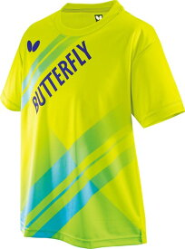 【一部完了】【Butterfly】バタフライ 45490-107 LASNEL T-SHIRT (ラスネル・Tシャツ) 男女兼用[ライム]【卓球用品】トレーニングシャツ/卓球Tシャツ/卓球/Tシャツ【RCP】