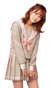 ◆【TG グレーセーラー BOX】淡いグレーが優しい印象のセーラー服。パステルピンクのリボンやラインがポイントです。【キャラクターレプリカ】【コスプレ用品】【RCP】