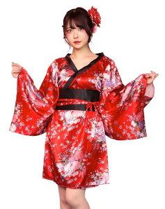 ◆【TG 花魁ガール】赤に花柄の花魁らしい華やかな着物。襟元が後ろに抜けているところがセクシーです。【キャラクターレプリカ】【コスプレ用品】【RCP】