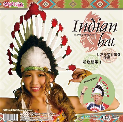 ◆【インディアンハット】赤と黒のコントラストがかっこいい羽根飾りのついたインディアンの被り物。オデコ部分についたチロリアンテーもポイントです。(生産時期によってテープの柄は変わります)【キャラクターレプリカ】【コスプレ用品】【RCP】