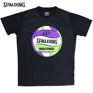 ▼SPALDING▼スポルディング SMT200740-BK [バレーボールTシャツ(ボールプリント)[ブラック][バレーボール/バレー/ウェア/ウエア/半袖/ハーフスリーブ/トップス/吸水速乾/UVカット/トレーニング/練