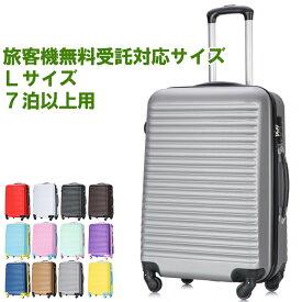 スーツケース キャリーケース キャリーバッグ ボーダー柄 軽量 Lサイズ 3年保証 大型 かわいい デザイン TSAロック搭載 長期旅行に最適