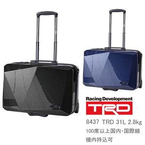 【機内持ち込み】 TRD カーボン柄 キャリーケース 横型 8437 メンズ ティーアールディ TOYOTA レーシング スーツケース ポリカーボネートプラス 2〜3泊対応 31L 2.8kg ( 旅行 バッグ おしゃれ キャリ