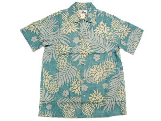 REYN SPOONER(雷恩斯普納)GOLD LABEL/RAYON HAWAIIAN SHIRTS/LEI LEHUA/green
