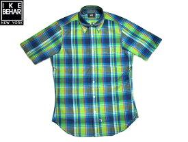 【期間限定20%OFF!】IKE BEHAR (アイクベーハー)/ #MF1301SB S/S B.D. MADRAS SHIRTS(半袖チェックシャツ)/blue x green