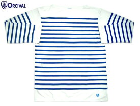 【シルク素材!期間限定50%OFF!】ORCIVAL(オーシバル)/#SK00WC-6101 MEN'S L/S SILK BOATNECK TEE(ロングスリーブ・シルク・ボートネック・ティーシャツ)/white x blue