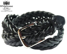 WHITEHOUSE COX(ホワイトハウスコックス)/#P1127 32mm SILVER PLAITED MESH BELT(レザーメッシュベルト)/full grain cow hide leather/black