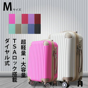 キャリーバッグ かわいい 送料無料 超軽量 TSA搭載 ダブルキャスター Mサイズ 中型 4〜7日用最適 旅行かばん ファスナー開閉 ジッパー 旅行トランク人気モデルスーツケース、Mサイズキャ