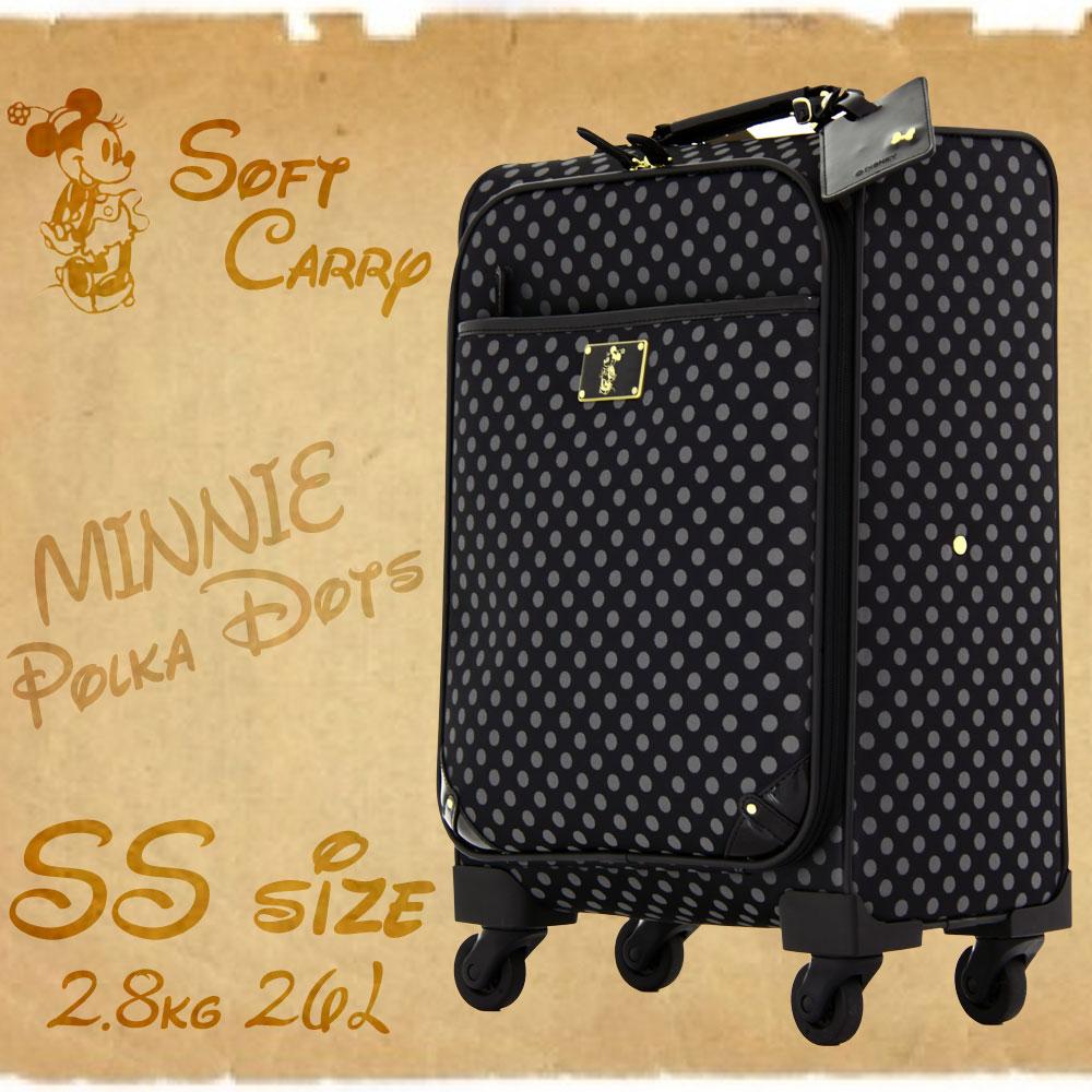 アウトレット ディズニー かわいい ミニー ソフトキャリー スーツケース キャリーケース キャリーバッグ キャリーバッグ キャリー DISNEY 旅行鞄 小型 SSサイズ 機内持ち込み AE-51302