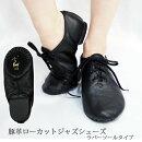 豚革製*ジャズダンスシューズローカットタイプ20.0〜25.5cm『黒』
