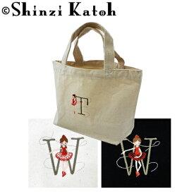 【期間限定セール 7/3 14時まで】バレエ小物 Shinzi Katoh Balletイニシャル 刺繍トートバッグ バレリーナ刺繍 バレエ用品