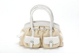 クリスチャン・ディオール Christian Dior 2ポケットバッグ ハンドバッグ ミニボストンバッグ ホワイト×ベージュ 未使用展示品 【トレジャースポット】【中古】