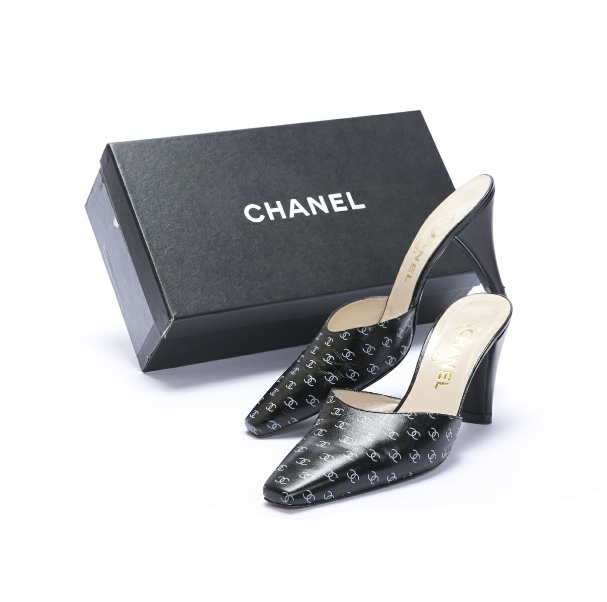 CHANEL シャネル ミュール 靴 #38 ココマーク レザー 【トレジャースポット】【中古】