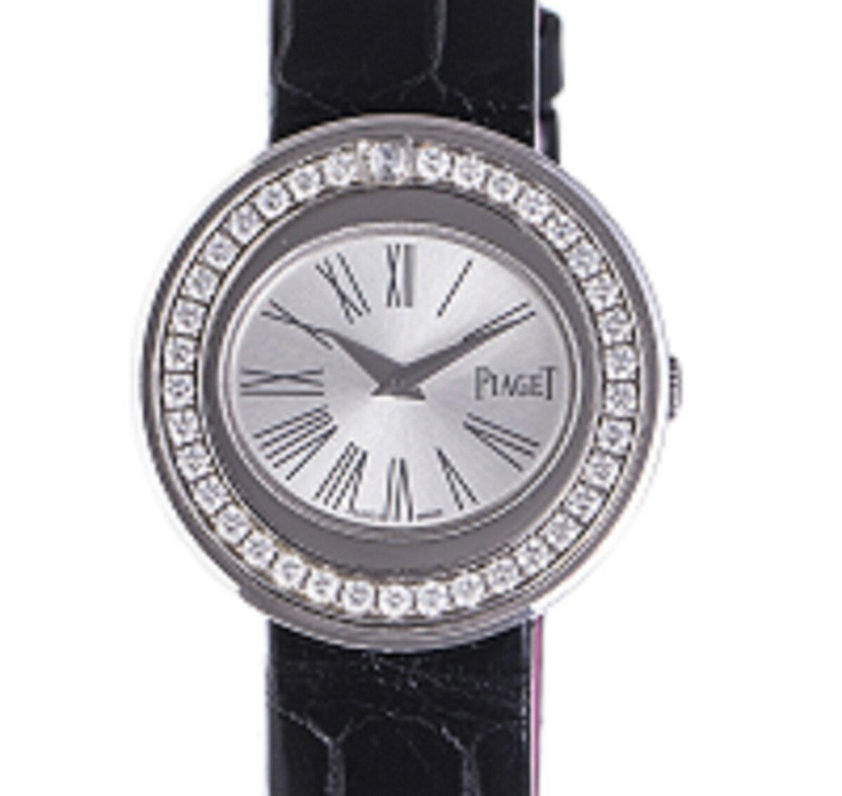 PIAGET ピアジェ ポセション 腕時計 ベゼルダイヤ WG ホワイトゴールド Qz クォーツ 替えベルト付き 送料無料 【トレジャースポット】【中古】