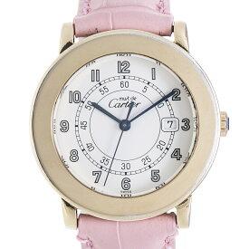 カルティエ Cartier マスト ラウンド 925GP QZ クォーツ ホワイト文字盤 ボーイズ  革ベルト レディース 男女兼用 腕時計 【トレジャースポット】【中古】