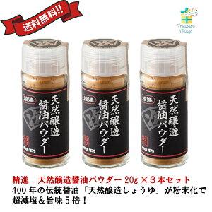 醤油 だし 無添加 減塩 粉 精進 天然醸造醤油パウダー 20g 瓶 3本セット 送料無料 翌営業日発送