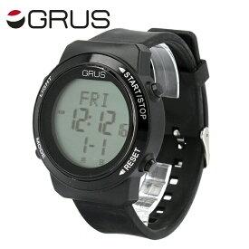 グルス 腕時計 GURS GRS001-02BK/BK ユニセックス メンズ レディース 歩幅がはかれる ウォ−キングウォッチ