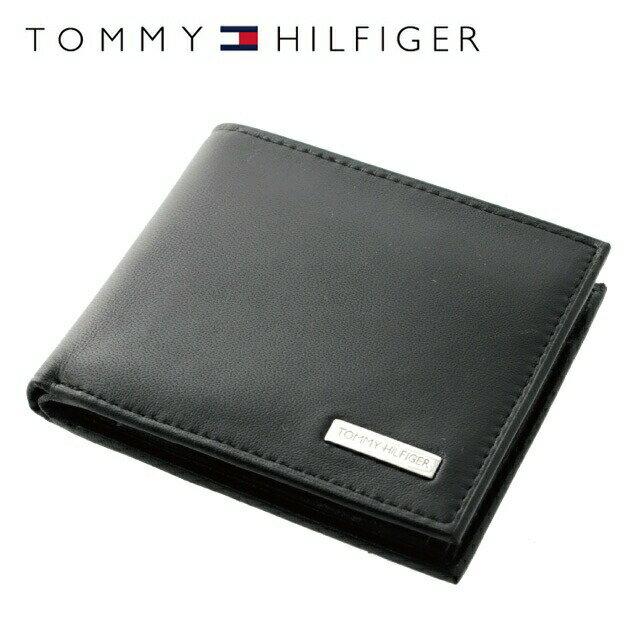 トミーヒルフィガー 財布 TOMMY HILFIGER 二つ折り財布 31TL25X016-001 (0096-5475/01) ブラック (小銭入れ有) 折り財布 折り財布 ウォレット サイフ レザー(革) メンズ 男性 トミー シンプル