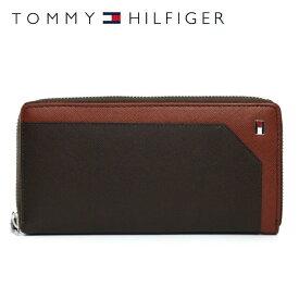 トミーヒルフィガー 財布 TOMMY HILFIGER 長財布 31TL13X030-292(0096-4166/04) ダークブラウン/ブラウン (小銭入れ有) 財布 ウォレット サイフ レザー(革) メンズ 男性 トミー シンプル ギフト