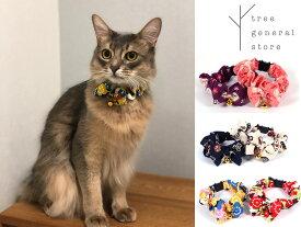 【クリックポスト対応】首輪 Sサイズ Mサイズ ねこ 猫 ペットグッズ 和柄 日本 ピンク うさぎ柄 おしゃれ かわいい ツリー