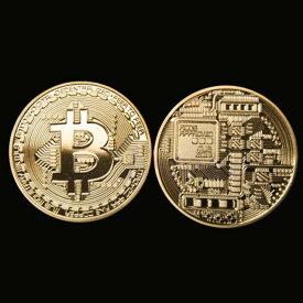 2枚セット ゴールド ビットコイン 仮想通貨 プラスチックケース付き 金 メダル