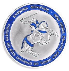 十字軍 テンプル騎士団 秘密結社 フリーメイソン シルバー コイン ケース付き コレクターズアイテム (ブルー)