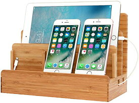 5台同時充電スタンド 竹製卓上充電ステーション スマホ充電 収納スタンド 木目調 Mac book/iPad/iPhone/Xperiaなど対応