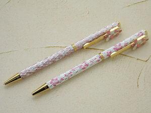送料無料(ネコポス)スワロフスキークリスタル付き ボールペン サクラ 2本セット さくら ボールペン 桜 海外土産 日本の花 画プレゼント