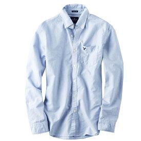 アメリカンイーグル メンズ シャツ 長袖 ボタンダウン BLUE BIGSIZE オックスフォードシャツ ビジカジ アメカジ カジュアルウェア 人気 ブランド 通販 オシャレ かわいい 春夏物 (aet0088)