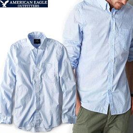 セール特価 メール便 送料無料 アメリカンイーグル メンズ シャツ 長袖 ボタンダウン ピンドット柄 ライトブルー ポプリンシャツ ビジカジ アメカジ カジュアルウェア 人気 ブランド 通販 オシャレ かわいい 春夏物
