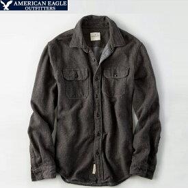 アメリカンイーグル メンズ ヘビーウェイトツイルシャツ 長袖 重ね着 グレー Shirt ビジカジ アメカジ カジュアルウェア 人気 ブランド 通販 オシャレ かわいい 春夏物 (aet0316)