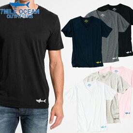 メール便 送料無料 7MILE OCEAN メンズ 半袖 Vネック Tシャツ プリント ロゴ ワンポイント 無地 Vネック 黒 白 グレー ネイビー ピンク 通販限定 S M L XL 大き目 大きい ビッグサイズ対応
