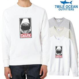 7MILE OCEAN メンズ トレーナー スウェット スエット トップス プリント ロゴ 人気ブランド アメカジ アウトドア ストリート サメ シャーク 鮫 おしゃれ ヘビーウェイト 裏起毛 厚手 ホワイト グレー ビックサイズ 大き目