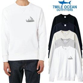 7MILE OCEAN メンズ トレーナー スウェット スエット トップス プリント 無地 ロゴ ナイフ 人気 ブランド アメカジ アウトドア ストリート パロディー おもしろ おしゃれ かっこいい 裏起毛 白 黒 グレー ネイビー