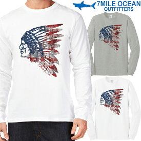 メール便 送料無料 7MILE OCEAN メンズ 長袖 tシャツ ロングTシャツ ロンT プリント インディアン indian ロゴ USA ウエスタン アメリカ アメカジ ストリート S M L XL XXL 大きいサイズ 春夏物 人気