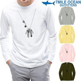 メンズ 長袖 tシャツ ロングTシャツ ロンT だまし絵 ネックレス フェザー プリント ロゴ アメカジ S M L XL XXL 大きい ビッグサイズ対応 秋冬物
