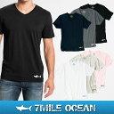 メール便 送料無料 7MILE OCEAN メンズ 半袖 Vネック Tシャツ プリント ロゴ ワンポイント 無地 Vネック 黒 白 グレー ネイビー ピンク 通販限定 S M L XL 大き目 大きい