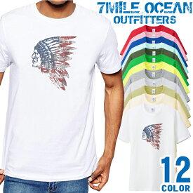 7MILE OCEAN Tシャツ メンズ 半袖 カットソー アメカジ インディアン indian USA ウエスタン アメリカ 人気ブランド アウトドア ストリート 大き目 大きいサイズ ビックサイズ対応 12色