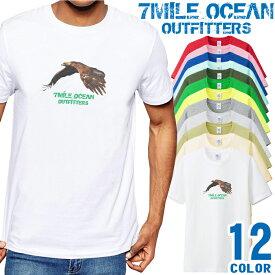 7MILE OCEAN Tシャツ メンズ 半袖 カットソー アメカジ 鷹 イーグル USA アメリカン 人気ブランド アウトドア ストリート 大き目 大きいサイズ ビックサイズ対応 12色