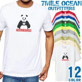7MILE OCEAN Tシャツ メンズ 半袖 カットソー アメカジ パンダ ぱんだ ハート ボックスロゴ キャラクター 人気ブランド アウトドア ストリート 大き目 大きいサイズ ビックサイズ対応 12色