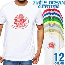 7MILE OCEAN Tシャツ メンズ 半袖 カットソー アメカジ エンジン ネタ バイカ— ツーリング 人気ブランド アウトドア ストリート 大き目 大きいサイズ ビックサイズ対応 12色