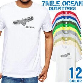 7MILE OCEAN Tシャツ メンズ 半袖 カットソー アメカジ 鷹 イーグル アメリカン 野鳥 人気ブランド アウトドア ストリート 大き目 大きいサイズ ビックサイズ対応 12色