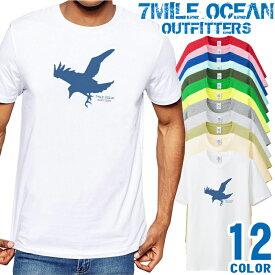 7MILE OCEAN Tシャツ メンズ 半袖 カットソー アメカジ イーグル 鳥 アウトドア 人気ブランド アウトドア ストリート 大き目 大きいサイズ ビックサイズ対応 12色